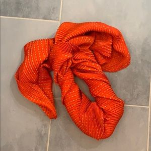 Orange and gold pleated scarf